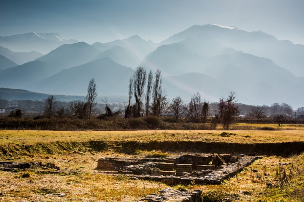 Archaeological Park of Dion with Mount Olympus in the background